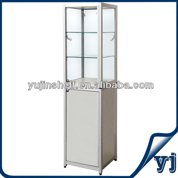 Framless Top Tempered Glass Jewelry Tower Display Case With Big ...