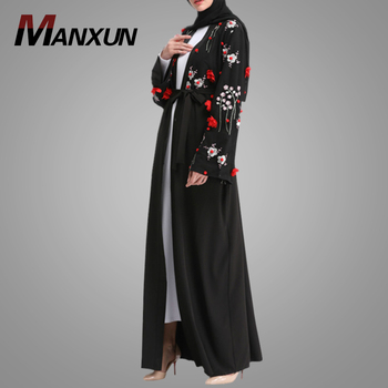 Fashion Muslim Belt Kimono Abaya Long Sleeve Dubai Style Black Embroidery Open Abaya Traditional Indonesia Dress