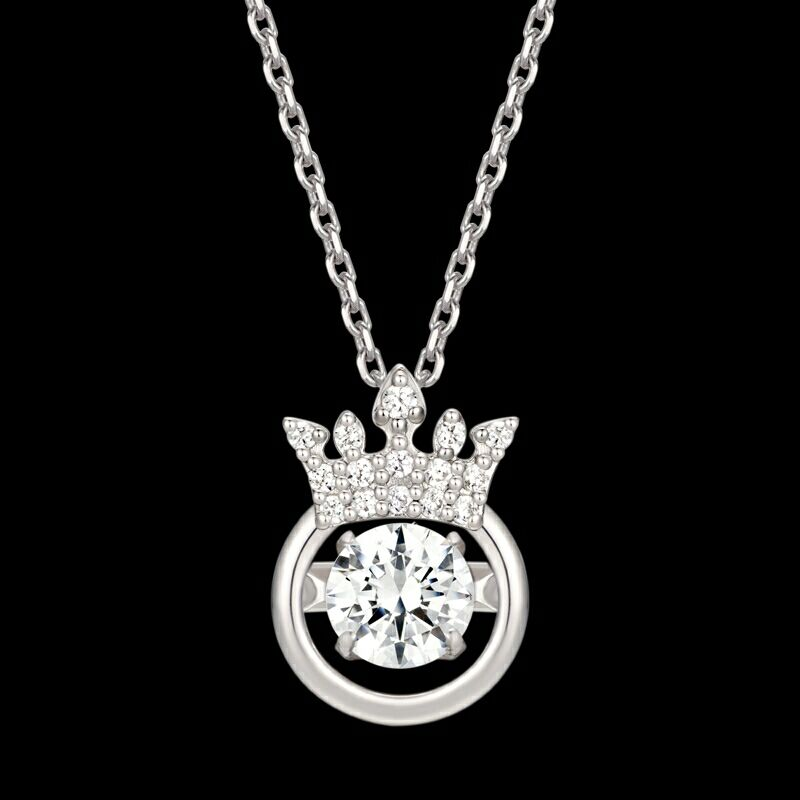Shuanghua gifts 925 Crown Silver temperament Hao stone heartbeat necklace Clavicular chain