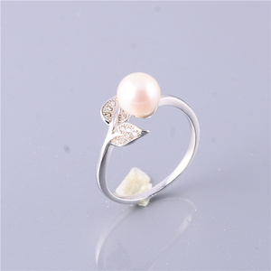 Lovely Pearl Beads Sterling 925 Silver Rings