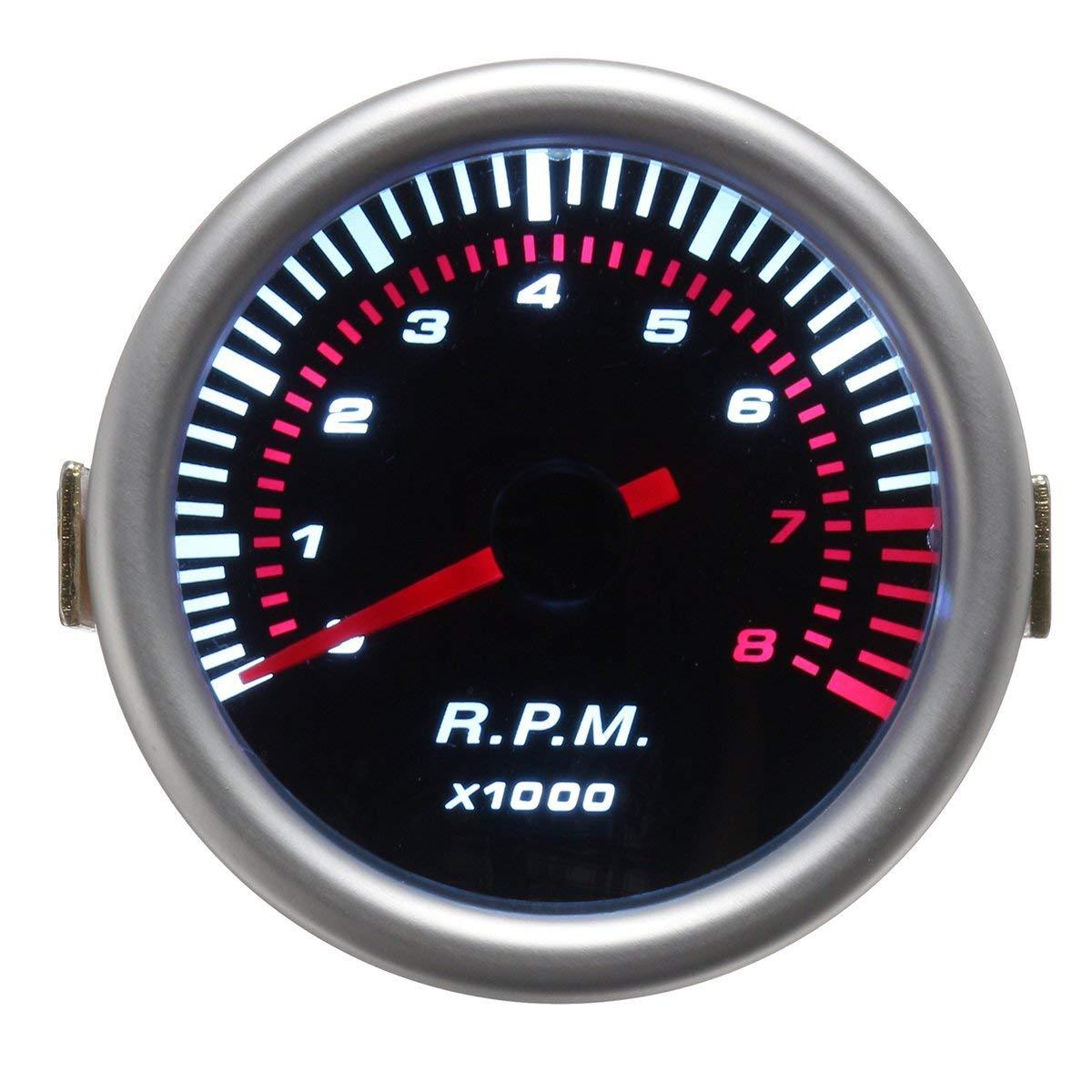 Dewhel Smoke 7-Colors LED 2 52mm 12V Tachometer Rev Counter RPM 0-8000 Tacho Meters Pointer Universal