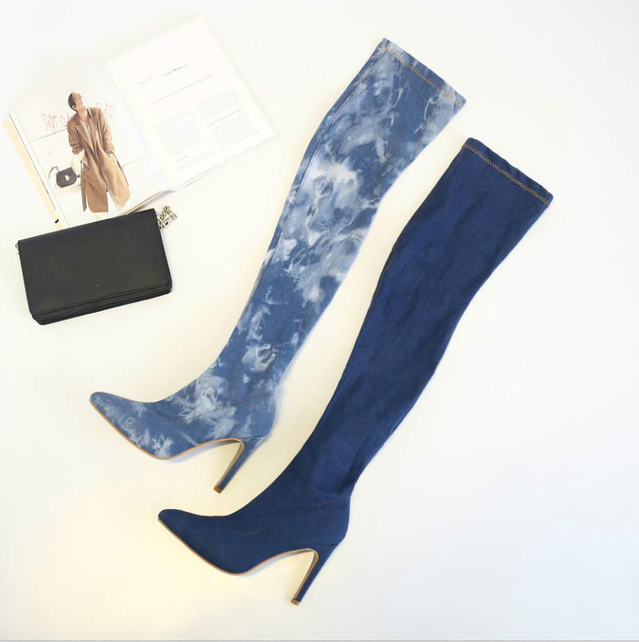 L2694A Fashion Ladies Over The Knee Winter High Heel Elastic Material Denim Jeans Long Boots