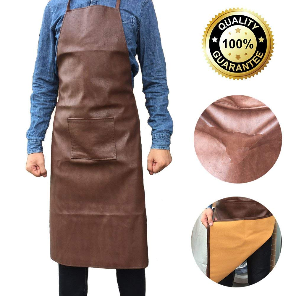 Waterproof Apron Leather Vinyl Group Grease Resistant, Pocket, Washable, Cooking Kitchen Suitable for Men (Brown)