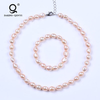 Natural Pink Freshwater Pearl Beaded Jewelry Sets Price For For Mother'S gift