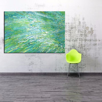 High Quality Abstract Turquoise Sunrise Ocean Wave Oil Painting On Canvas