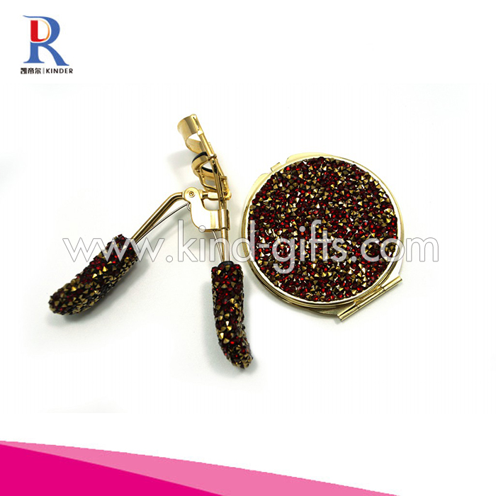 New Innovative Crystal Bead Bling Whistling Rose Gold Round Compact Mirror With Eyelash Curler