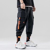 Hot Custom 100% Polyester Blank Contrast Color Mens Baggy Cargo Work Jogger Pants For Men