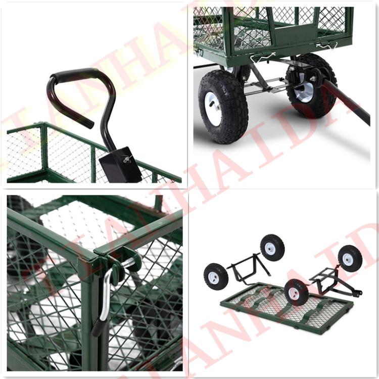 Tc1840H 300kg 10 inch 4 bánh xe nhiệm vụ nặng nề tiện ích thép lưới vườn giỏ hàng vườn xe đẩy