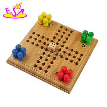 Meest populaire kids educatief bamboe ludo game met game board W11A068
