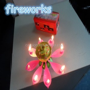 Promotion custom unique flower fireworks musical birthday cake candles