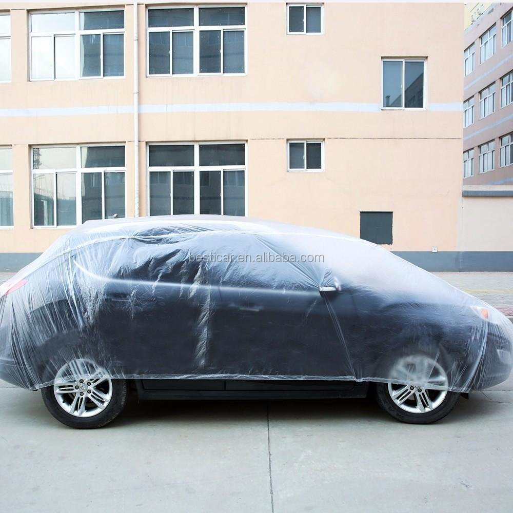 Dustproof Waterproof Light Weight PE Sedan SUV Outdoor Protection Disposable Plastic Car Cover
