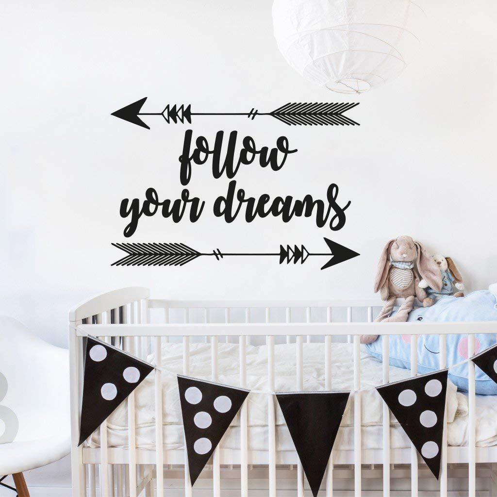 Get Quotations Follow Your Dreams Wall Decal Quote Arrow Nursery Quotes Decals Aroow Tribal Sticker Boho