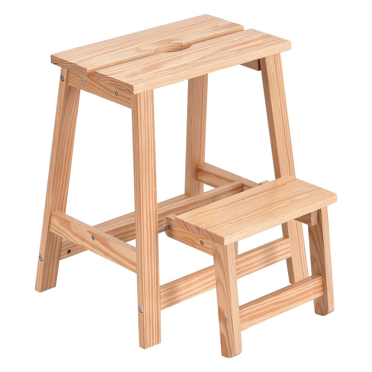 Step Up Kitchen Helper Adjule Height Wooden Safety Cooking Ladder Stool For Kids Little Chef Learning Furniture
