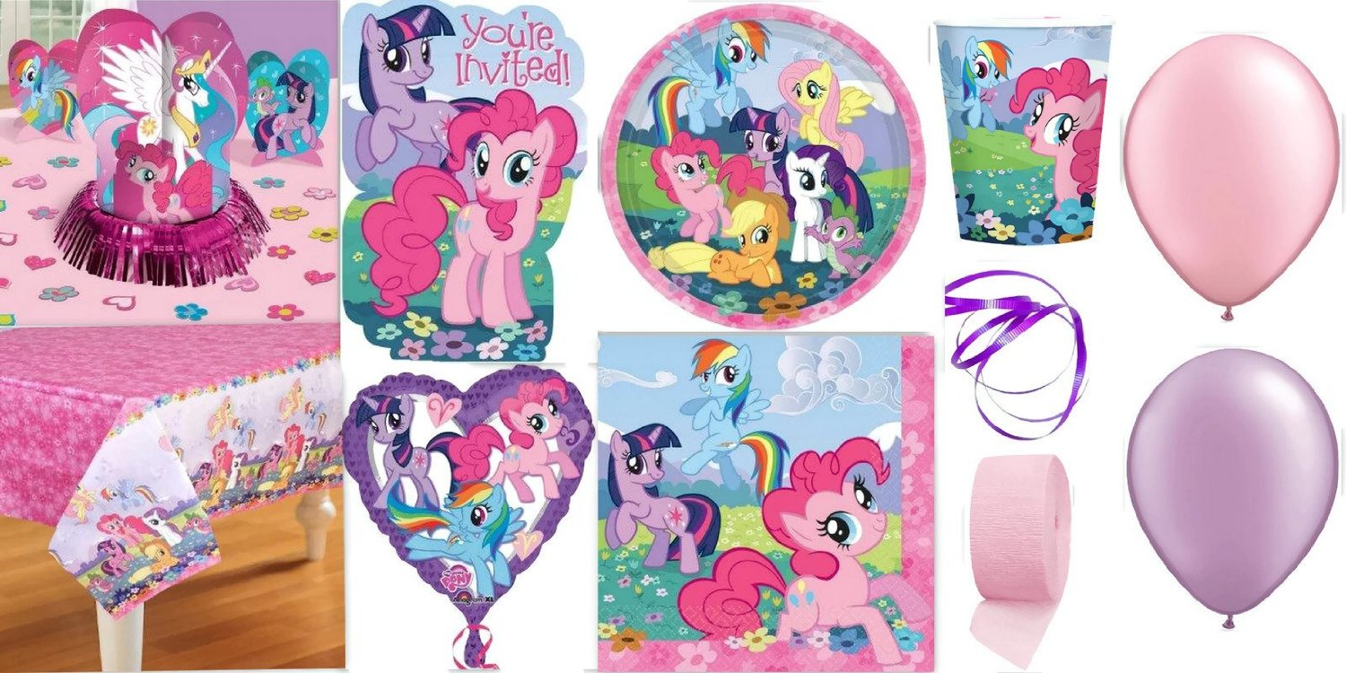 My Little Pony Party Supplies for 16 Guests This Ultimate Party Pack Includes Invitations, Table Cover, Cups, Napkins, Plates, Table Decorations, Stickers, Curling Ribbon, Streamer, and Balloons – This Bundle Includes 149 Pieces!