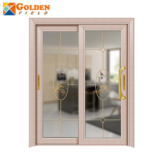 Aluminum profiles art inlay glass sliding door for residential doors