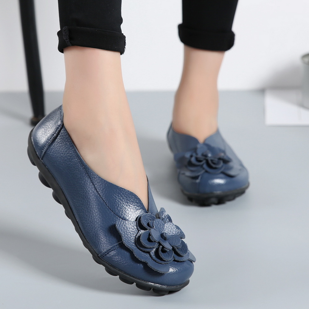 High quality genuine leather loafer shoes for women