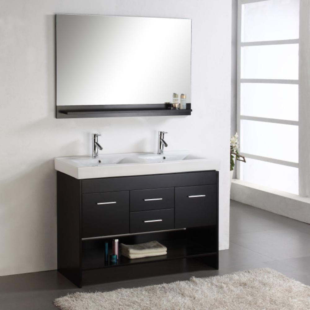 48 in. doppio lavabo in legno di quercia vanità bagno a m006 ...