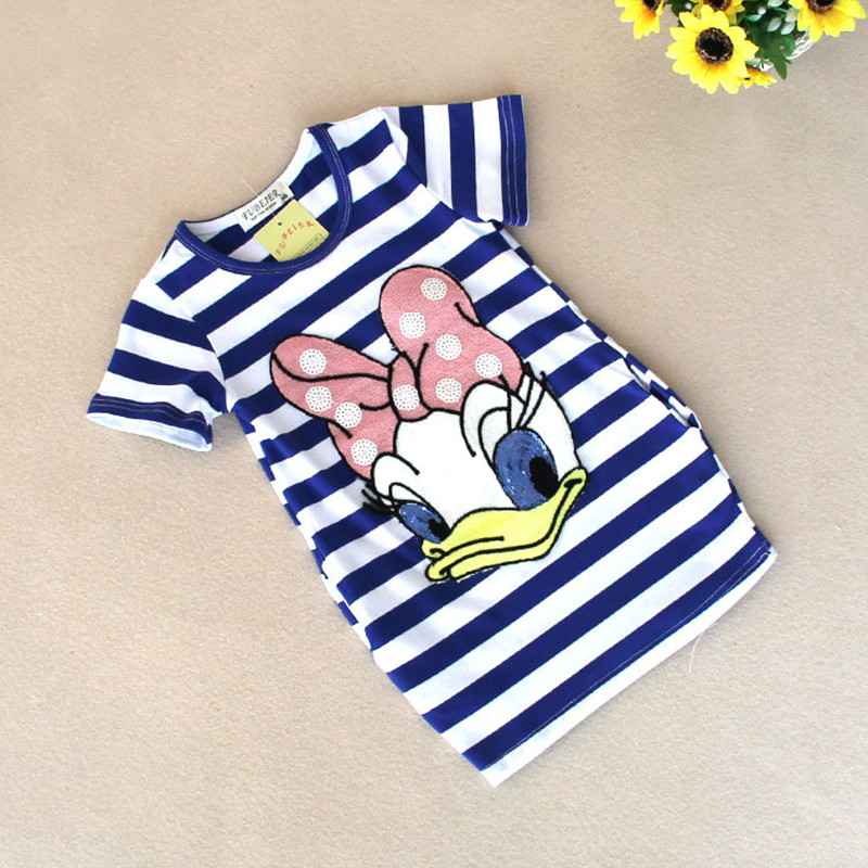 2016 latest summer girls striped font b dress b font children cartoon Donald Duck the two