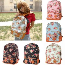 New Fashion Canvas Backpack College Girls' Flowers School Bag Women Rucksack Schoolbag