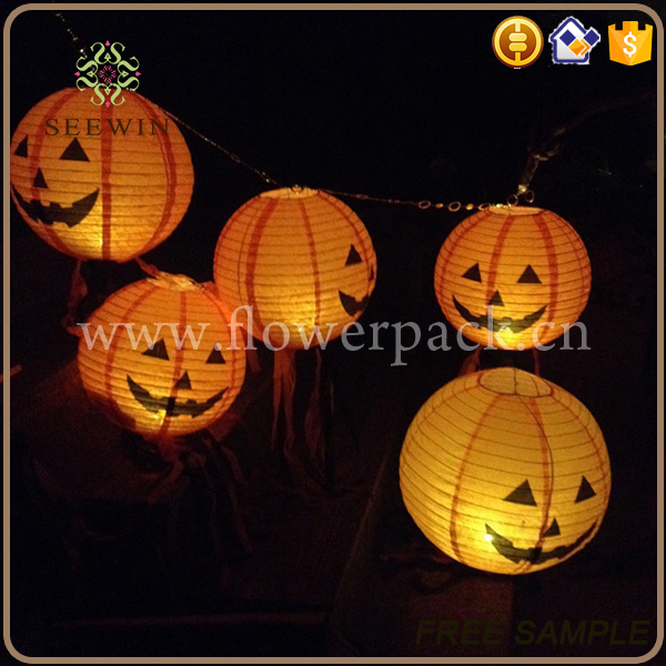 wholesale decorative celebrating orange paper halloween lantern