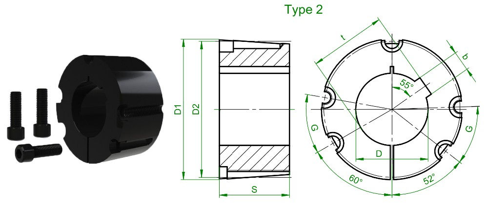 4040 taper bushing with Black phosphating surface treatment