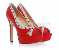 Ladys shoes 2016 new models Women designers heels studs red stiletto heels