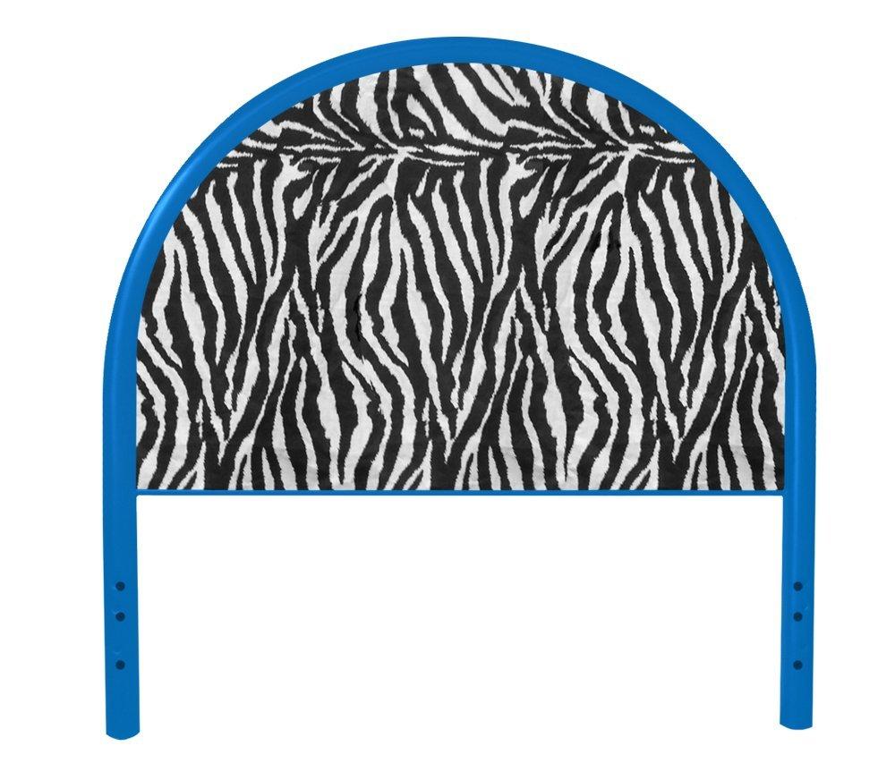 The Furniture Cove New Twin Size Children's Youth Blue Metal Headboard with Custom Zebra Animal Print Upholstered Headboard