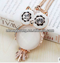 Owl Fashion Pendant Necklace Cat's Eye Jewelry