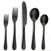 20 Piece Black Matte Plated Stainless Steel 304 Cutlery Sets Service for 4
