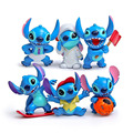 6 pcs Stitch figures figurines figura figure toys 2016 New stitch Keychain key chain Ring gift
