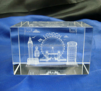 3d laser Crystal paperweight for London souvenirs