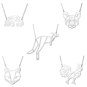 Fashion Stainless Steel Necklace Cute Hollow Geometric Animal Pendant Necklace Lizard Cabrite Kangaroo Dog Fox Fowl Chook