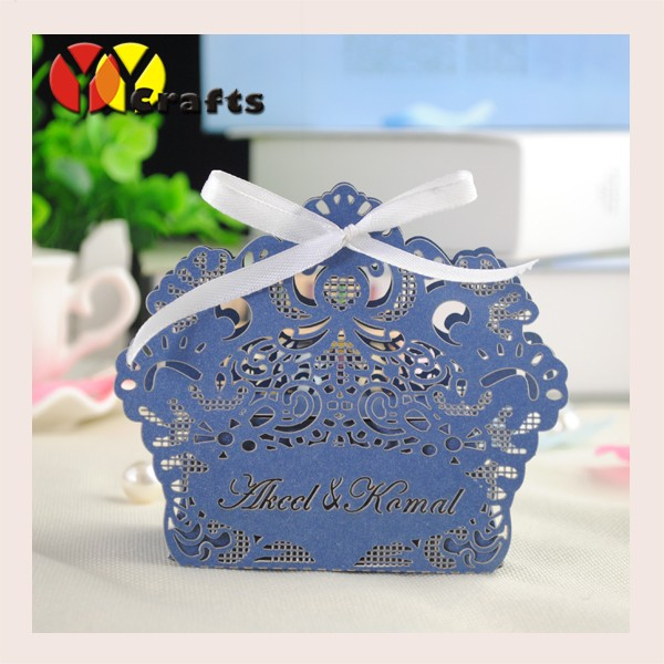 laser cut royal blue indian wedding gift boxes add names for free