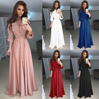 2018 Autumn and Winter Women Long Dress Casual Long Sleeve Slim Dress Ladies Fashion Botton Maxi Long Dress