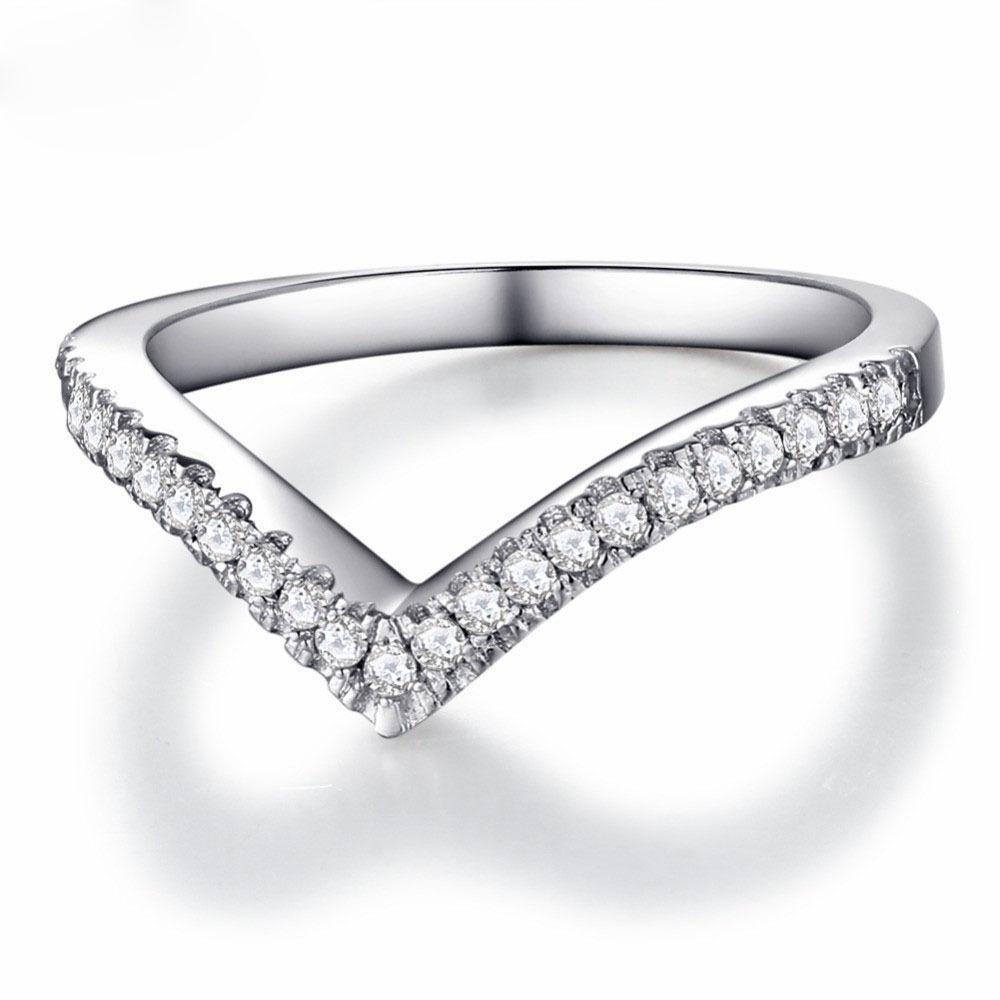 925 เงินสเตอร์ลิงเครื่องประดับคลื่นโค้ง V รูปร่างแหวนผู้หญิง