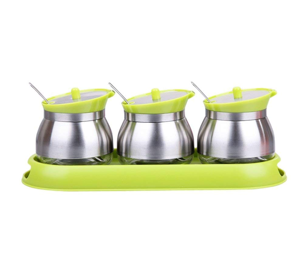 BETTER-HOME Seasoning Spice Jar Set:3 Stainless Steel Pots to Store Sugar or Salt/ 3 Spoons/ 1 Non-Slip ABS Base (Green)