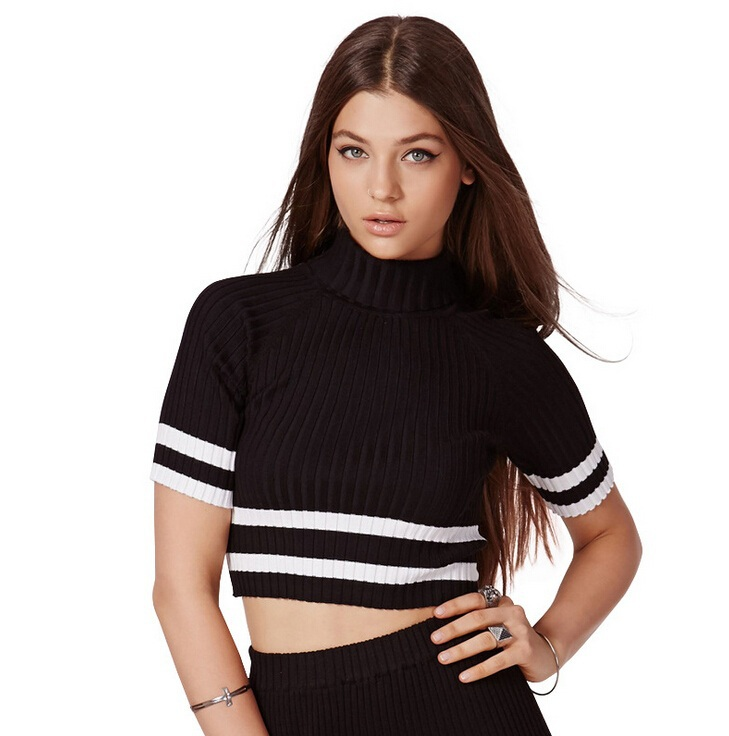 Short tight knit striped sweater with high collar sweater Slim crop sweater pullovers for women