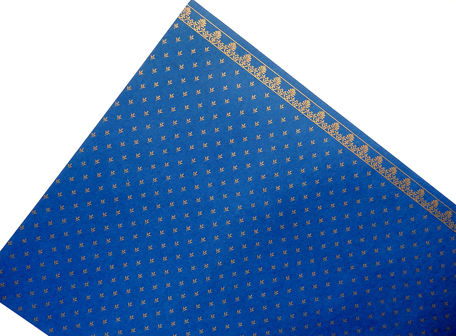 Melody Jane Dolls House Blue on blue Balmoral Miniature Print 1:12 Wallpaper