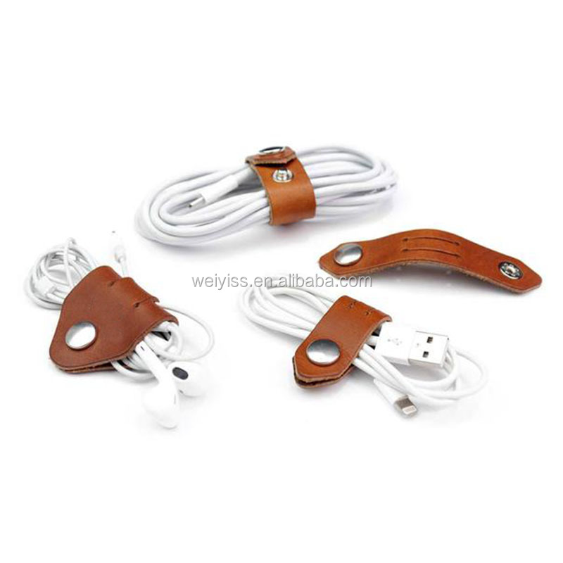 Set of 4 Cable organizer, leather cable holder