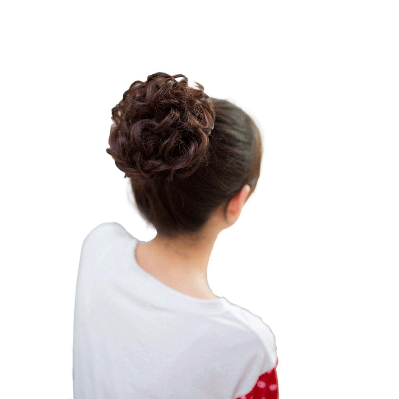 Smilco Hair Free Style Hair Curler Wig Puff Bud Elastic Hairbands Hair Ties Women Hair Accessories Hair Bands (Natural Black)