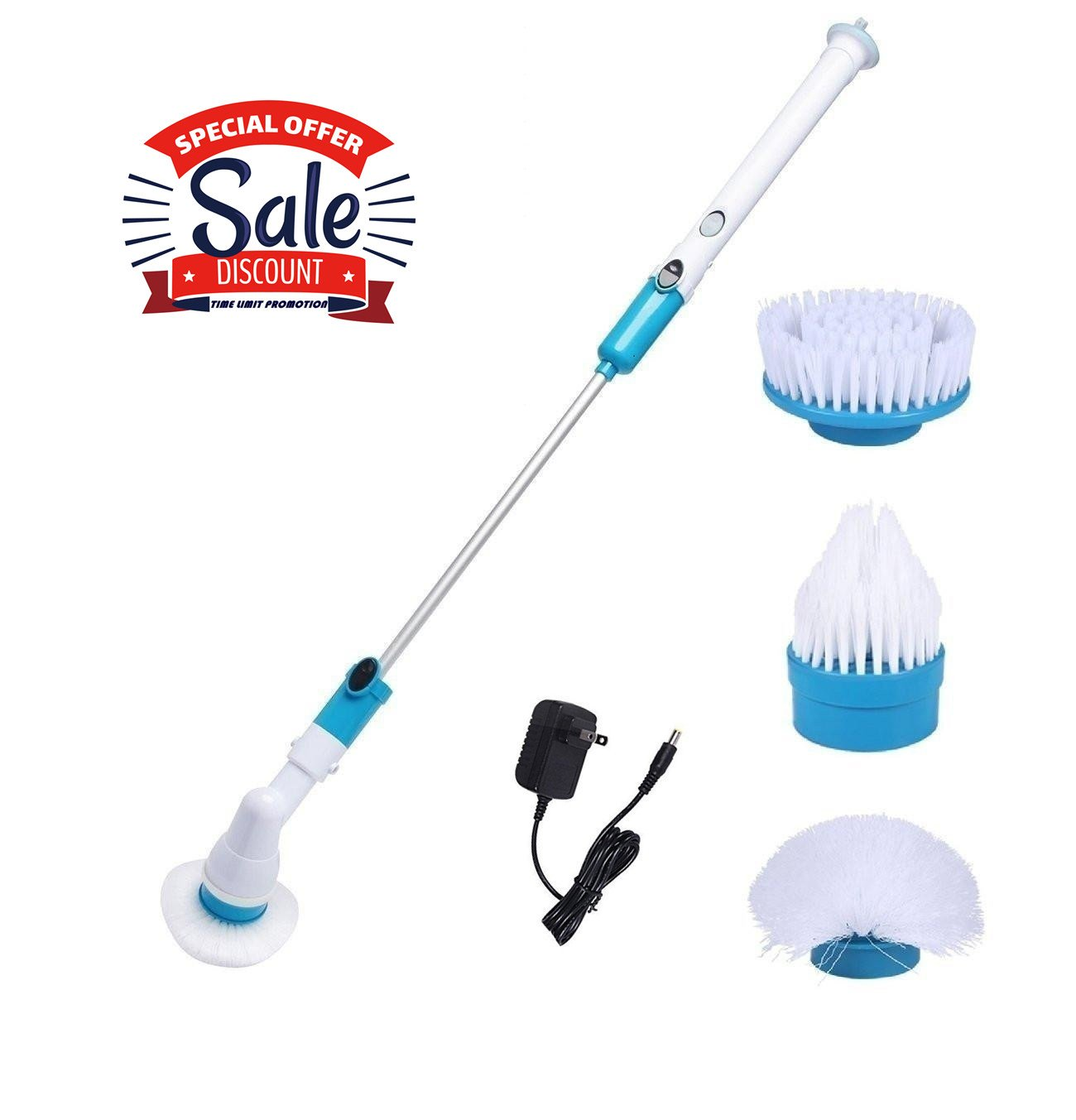 Lazaga Electric Spin Scrubber, Rechargeable Turbo Scrubber, Automatic Cleaning Scrubber, 3 Head Sets for Multi-Purpose Uses(Bathroom, Floor, Wall, Floor, Scrub Brush Scrubber)
