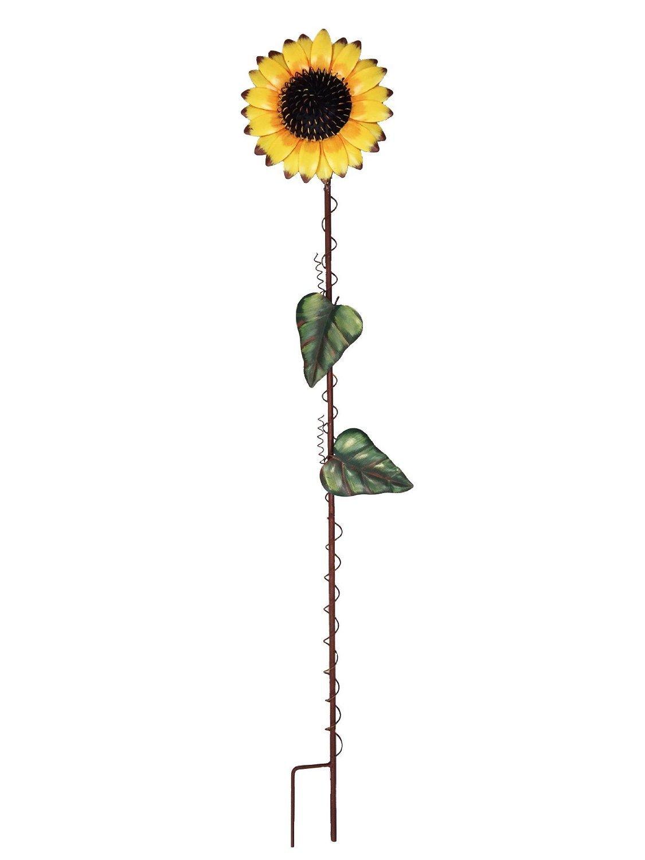 39-inch Metal Sunflower Garden Stake Large Flower Yard Stake Decor