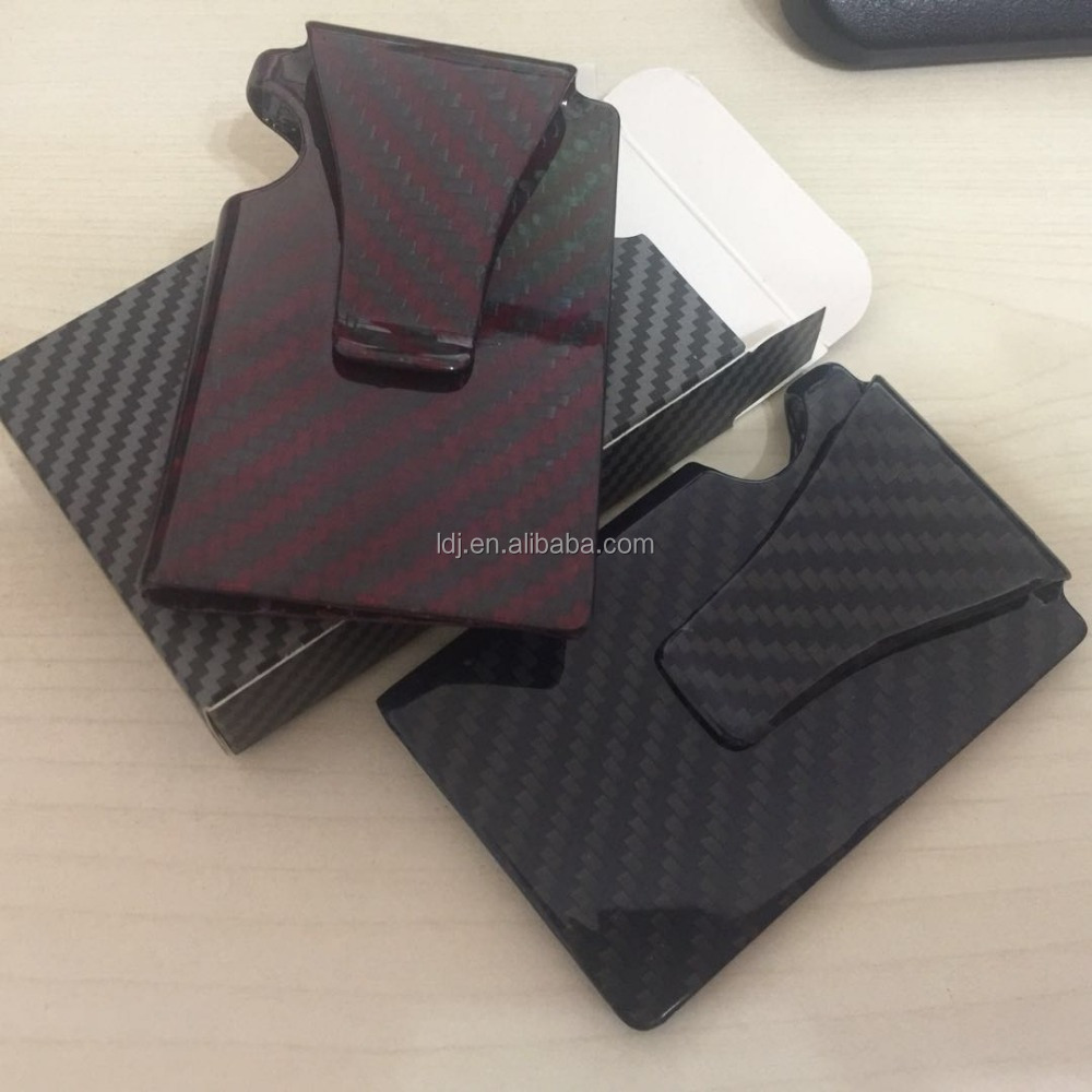 100% Real Compact Carbon Fiber Mini Money Clip Credit Card Sleeve ID Holder With RFID Anti-Thief Card Wallet