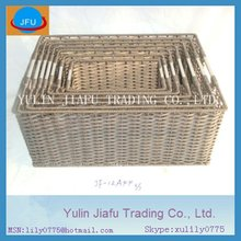 2012 new item grey rectangle PE metal handle plastic storage basket