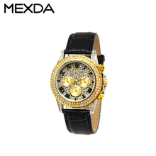 Vintage luxury gold plated diamond watch leather western ladies wrist watches gold bezel women watch