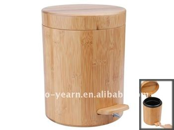 Bamboo wooden cylinder trash can dustbin waste basket for Poubelle salle de bain bois