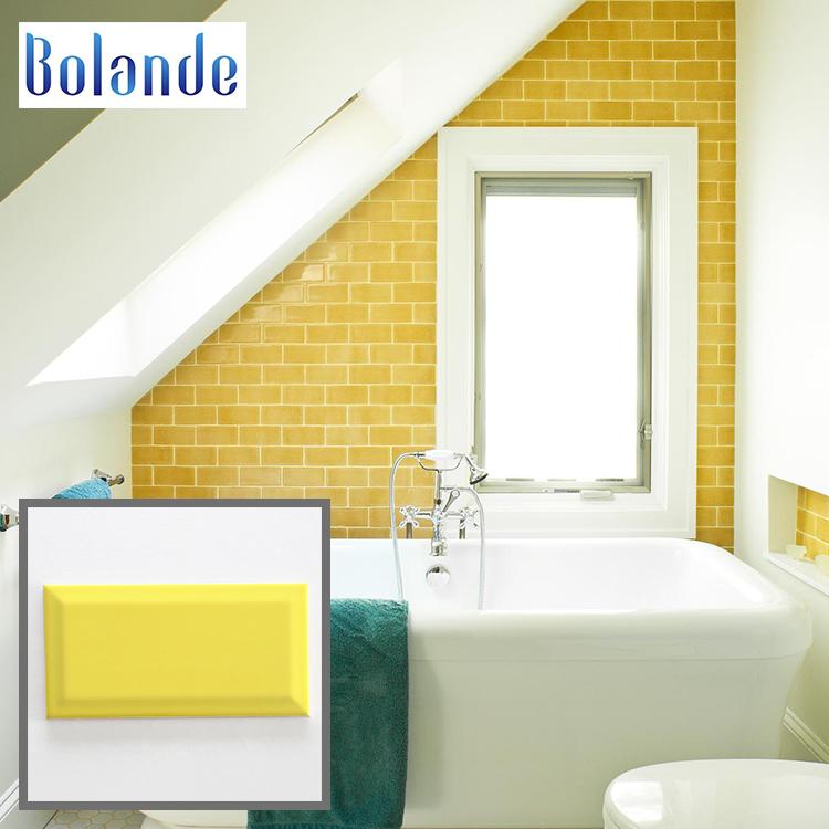 Beveled 100x200mm Brick Wall Tiles Price In Desh Porcelain Glossy Yellow Gloss Subway Tile Backsplash Kitchen Never Fade Away