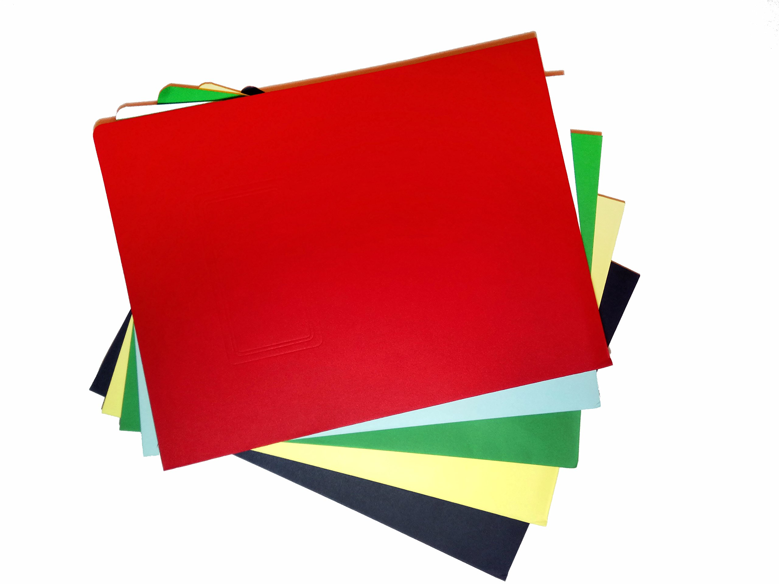 SchoolSupplies Set of 10 Colored Cardboard Folders: 12 X 9 Inch School, Office, or Business Paper Holders in Red, Blue, Green, Yellow, and Black