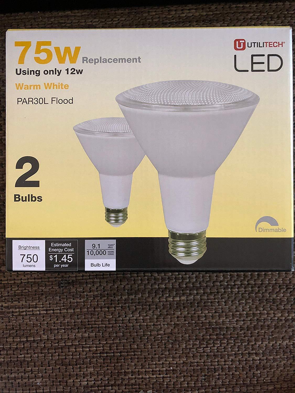 Utilitech 2-Pack 12-Watt (75W Equivalent) PAR30 Longneck Medium Base (E-26) Warm White Dimmable Outdoor LED Flood Light Bulbs …