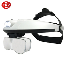 Adjustable Led Light Head Wear Magnifying Glass with 1.0x 1.5x 2.0x 2.5x 3.5x Lens